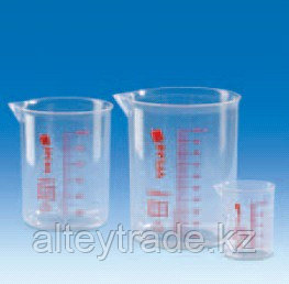 Стакан пластиковый 1000 мл, ц.д.100 мл, красная шкала, материал-полиметилпентен (РМР) (VITLAB)