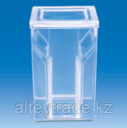 Сосуд-кювета с крышкой и держателем предметных стекол, прозрачная, 58х53,5х86 мм (РМР) (VITLAB)