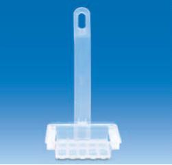 Подставка для окрашивания 20 предметных стекол 26х76 мм с ручкой, размер 86х70х21 мм (РР) (VITLAB)