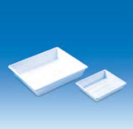 Лоток пластиковый, глубокий, прочный, белый, размер дна 180х240 мм (PP) (VITLAB)