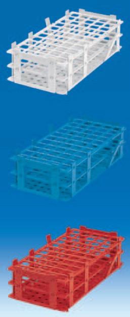 Штатив для пробирок, пластиковый, корзиночного типа, квадратные гнезда (55 гнезд, d пробир-16мм), красный (PP) (VITLAB)
