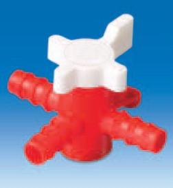 Вентиль трехходовой пластиковый для шлангов с внутр.d-7 мм (PE/PP) (VITLAB)