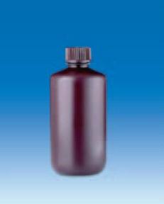 Бутыль узкогорлая полиэтиленовая, темная, V-250 мл, для хранения светочувствительных в-в, винт.крышка (PE-HD) (VITLAB)