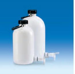 Бутыль узкогорлая полиэтиленовая, V-5 л, с ручкой для переноса, винтовой крышкой и вентилем (PE-HD) (VITLAB)