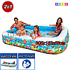 Детский прямоугольный надувной бассейн, Intex 58485, с рыбками, размер 305х183х56 см