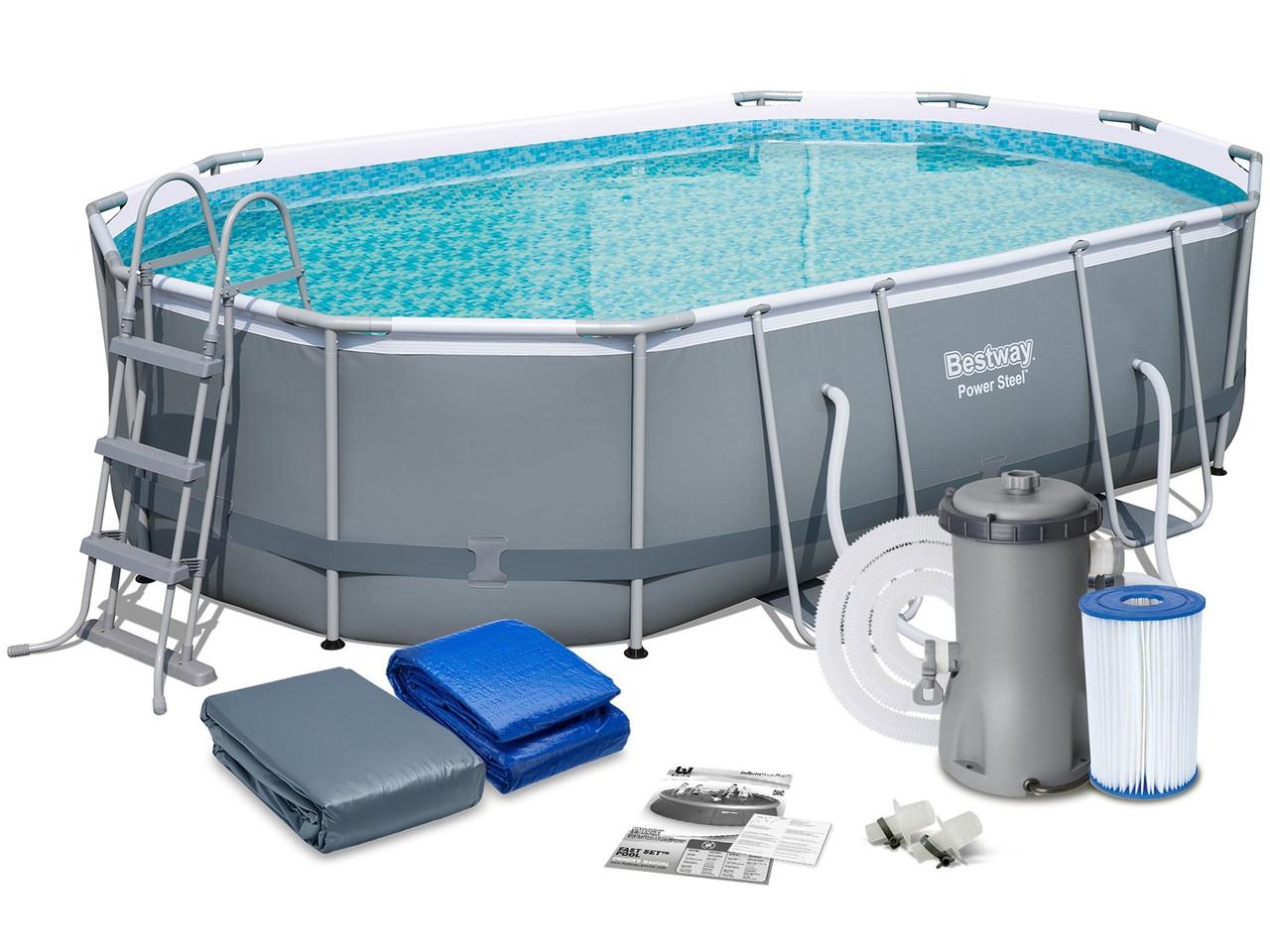 Каркасный овальный бассейн Bestway 488х305х107 см + фильтр-насос 3028 л/ч, лестница, тент,  (56448 BW)