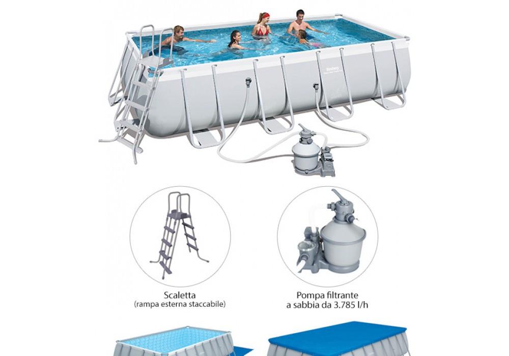 Бассейн каркасный BESTWAY 549х274х122 (с песочным фильтром, лестницей, тентом, подстилкой), арт. 56466