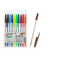 Набор ручек шариковых 10 цветов CITY, узел 0.8 мм, шестигранный корпус