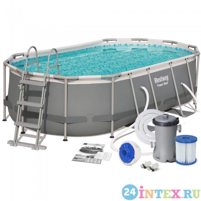 Каркасный овальный бассейн Bestway 424х250х100 см + фильтр-насос 2006 л/ч, лестница (56620 BW)