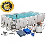 Каркасный прямоугольный бассейн Bestway 488х244х122 см + песочный ф/насос 3785 л/ч (56671 BW)