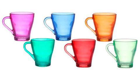 Набор разноцветных стеклянных кружек для чая и кофе «Радуга» [6 шт.]