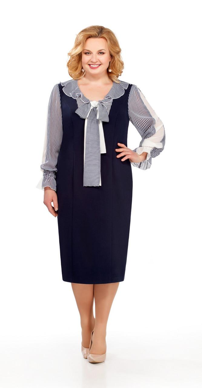 Платье Pretty-840/1, темно-синий+полоска, 56
