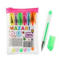Набор гелевых ручек 6 цветов Mini Flou, пулевидный пишущий узел 0.8 мм, флуоресцентные, стержень 80 мм (комплект из 3 шт.)