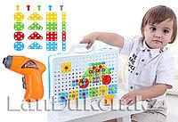Набор для творчества конструктор-мозаика (дрель, насадка, шурупы, разноцветные запчасти), фото 1