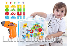 Набор для творчества конструктор-мозаика (дрель, насадка, шурупы, разноцветные запчасти)