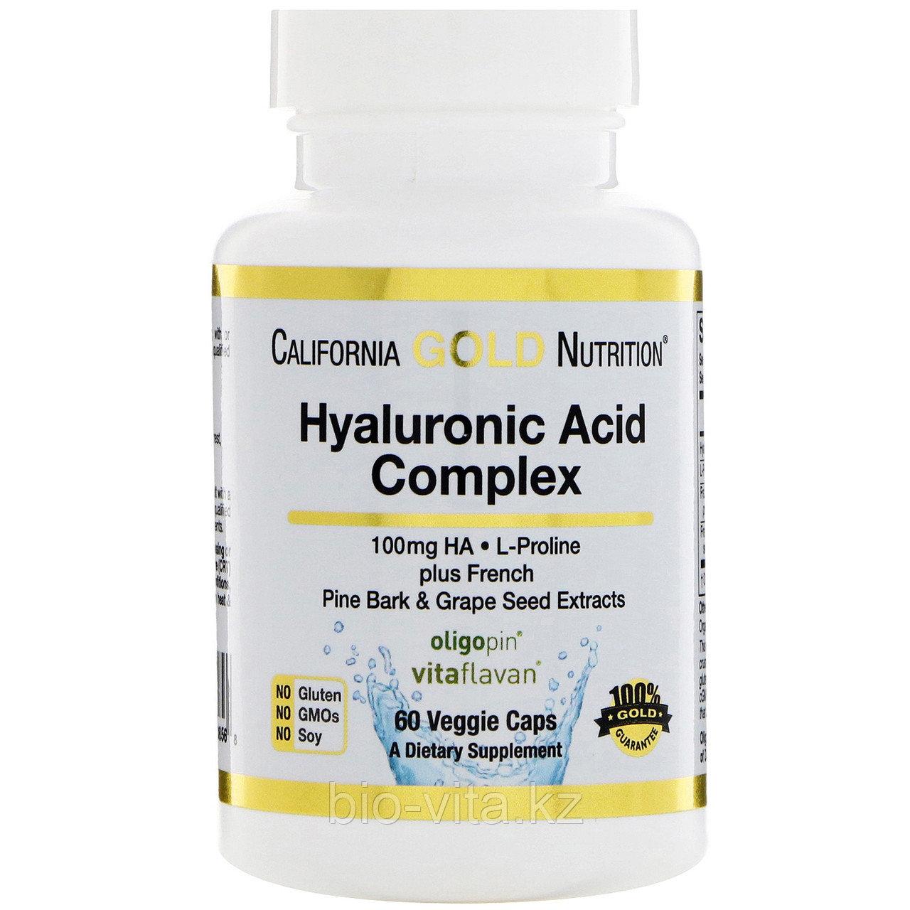 Гиалуроновая кислота, двойная сила, 100 мг, 60 капсул.По 1 шт. в день.California Gold Nutrition®
