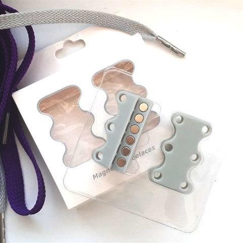 Умные магниты для шнурков Magnetic Shoelaces (Серый / Для взрослых)