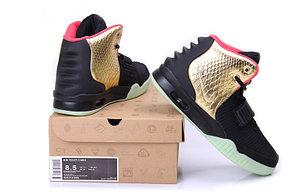Кроссовки Nike Air Yeezy 2 (Kanye West) черные с золотом, фото 2
