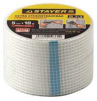 "Сетка STAYER ""PROFI"" армировочная стеклотканевая, самоклеящаяся, 2,85х2,85мм, 5см х 10м"