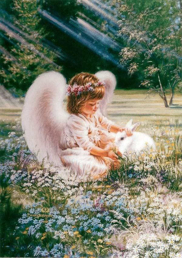 """Картины стразами """"Ангелочек с кроликом"""" 40*50"""