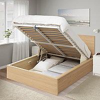 Кровать с подъемным механизмом МАЛЬМ 180х200 дубовый шпон, беленый ИКЕА, IKEA, фото 1