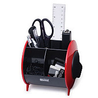 Канцелярский набор BRAUBERG, 10 предметов, вертикальная вращающаяся конструкция, черный/красный, блист. 231927, фото 1