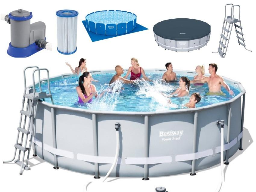 Каркасный бассейн Bestway 488х122 см + фильтр-насос 5678 л/ч, тент, лестница, подстилка (56451/56266 BW)