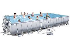 Каркасный бассейн Bestway 56623. Сборный Power Steel Rectangular Frame Pool 956 х 488 х 132 см