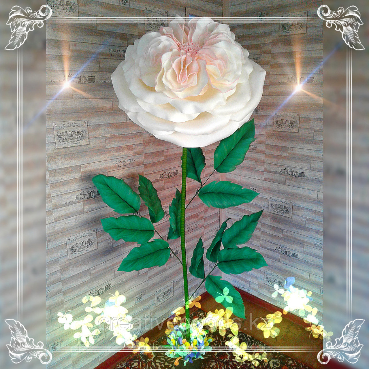 Большие цветы для интерьера. Пионовидная роза.  Creativ 71