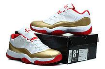 Nike Air Jordan 11 low Concord баскетбольные кроссовки белый с золотом, фото 3
