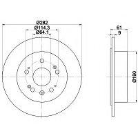 Тормозные диски Honda Accord Tourer (03-..,задние, Kavo, D281)
