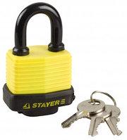 """Замок STAYER """"MASTER"""" навесной, всепогодный, пластиковая защита корпуса, с закаленной дужкой,на карточке, 50мм"""