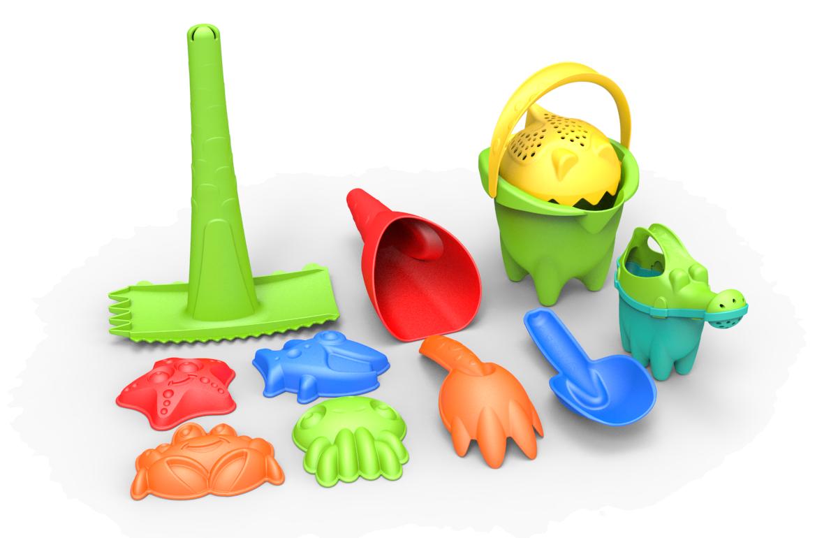Набор Песочный: №1 размер Normal, 11 предметов (зеленое ведро)