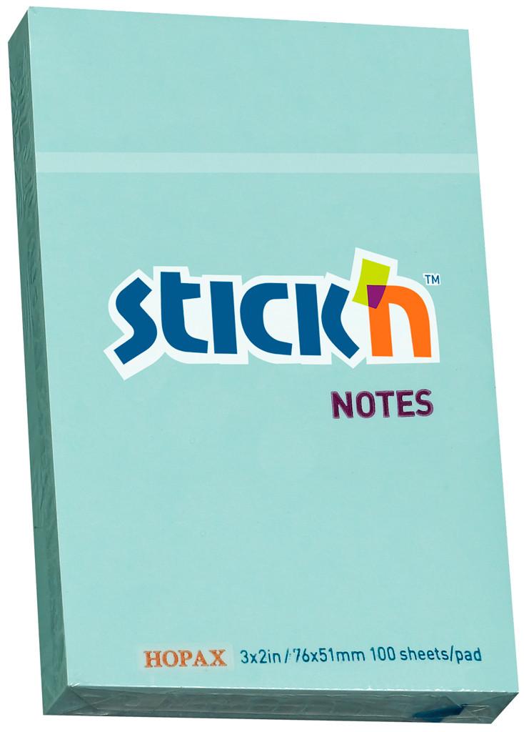 Клейкие листки STICK`N 51 х 76 мм  голубые, 100 листов