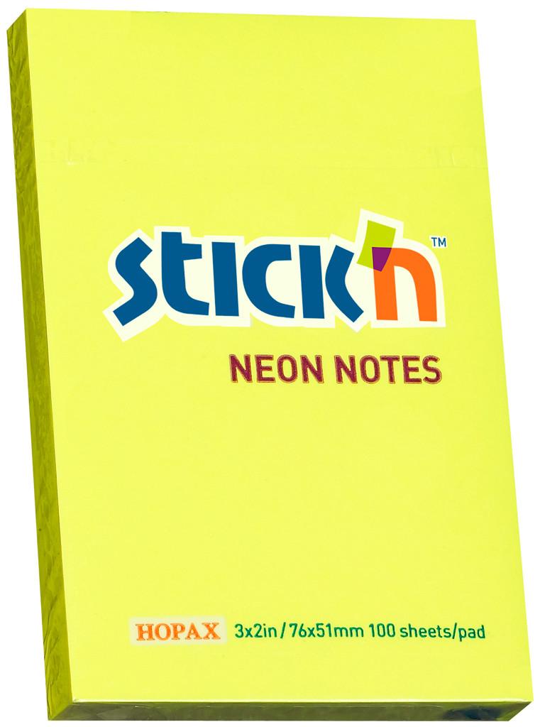 Клейкие листки STICK`N 51 х 76 мм  желтые, 100 листов