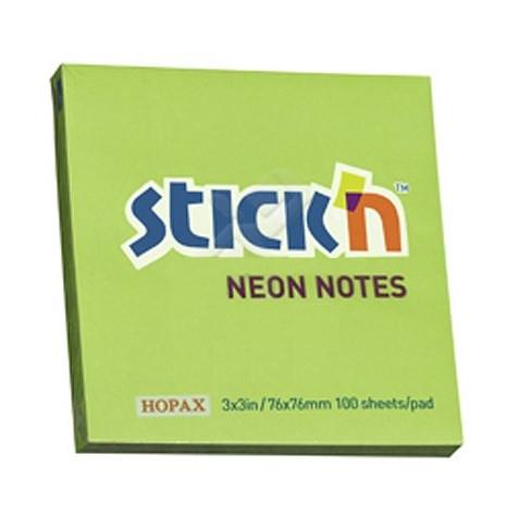 Клейкие листки STICK`N 76 х 76 мм  зеленые, 100 листов