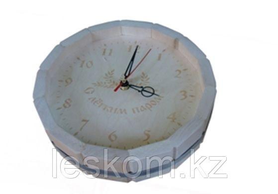 Часы с гравировкой Липа ЛЮКС, в виде бочки