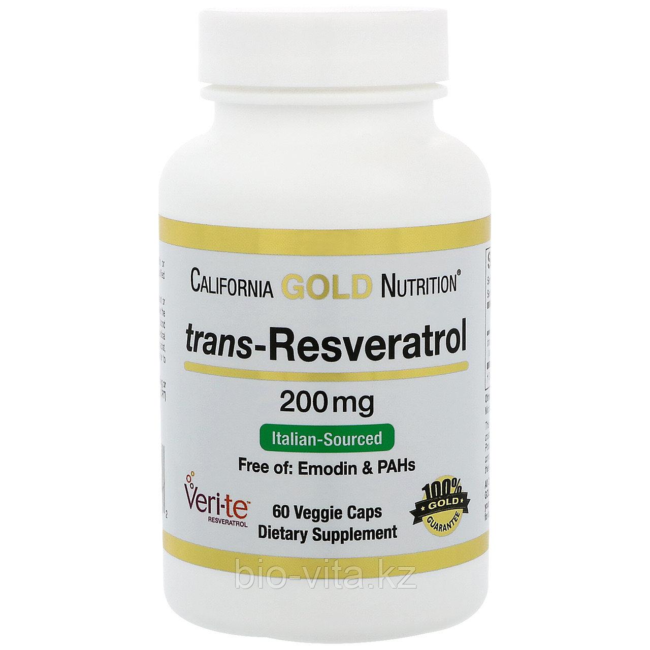 Транс-ресвератрол 200 мг, 60 растительных капсул. California Gold Nutrition®