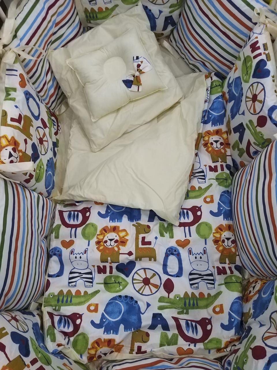 Комплект в кроватку ILNUR 19 предметов Мультиколор