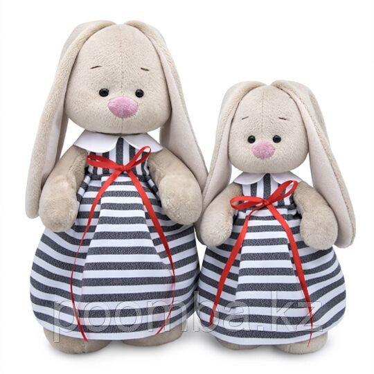 """Мягкая игрушка """"Зайка Ми""""  в платье в полоску (большой)  32 см"""