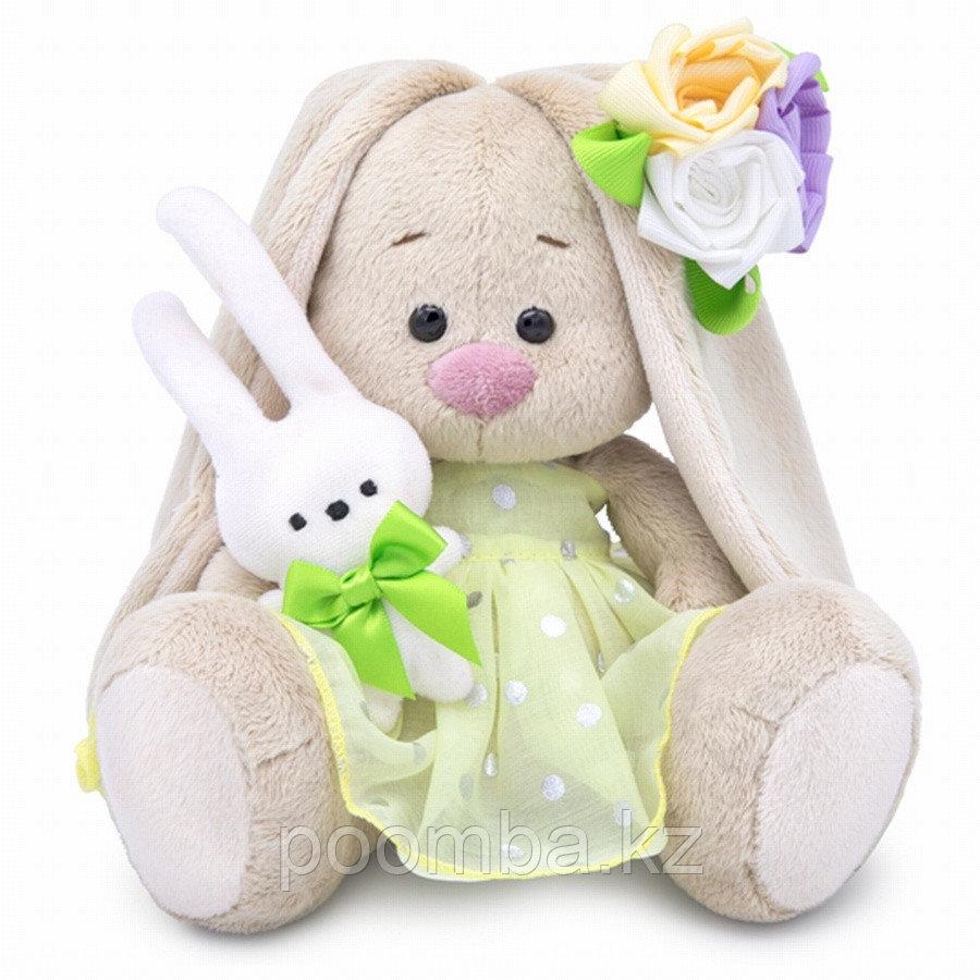 """Мягкая игрушка """"Зайка Ми""""  с зайчиком и нарядным цветком (малыш)  22см"""