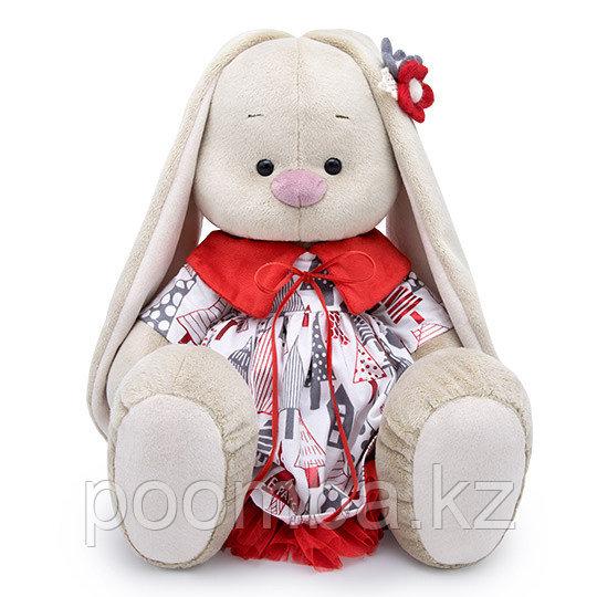 """Мягкая игрушка """"Зайка Ми""""  Большой в платье с красным воротничком  34см"""