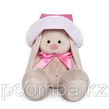 """Мягкая игрушка """"Зайка Ми"""" в розовой панамке и с бантиком (малая) 18см"""