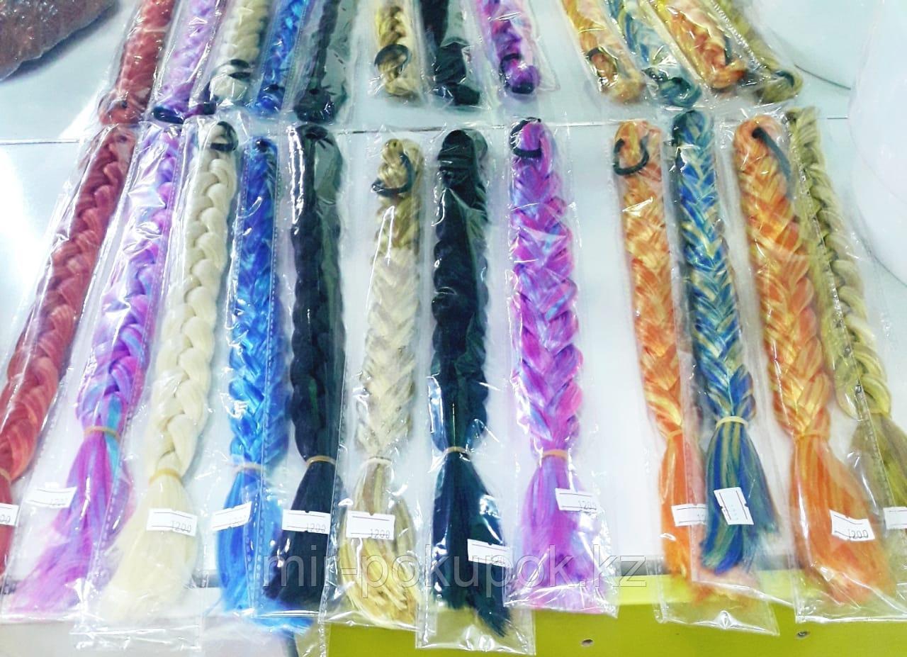 Распродажа! Цветные косы на резинке (из искусственных волос) (1шт), Алматы