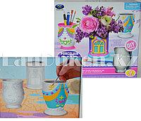 Набор для творчества Роспись керамики вазы с палитрой красок (12 цветов, 3 вазы, кисточки и палитра)