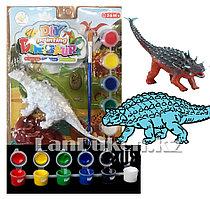 Набор для творчества раскраска динозавра Анкилозавр (фигурка динозавра, камня, 6 цветов красок и кисточка)
