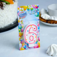 Свеча восковая для торта с блестками 'Цветные точки' цифра 6, цвета МИКС