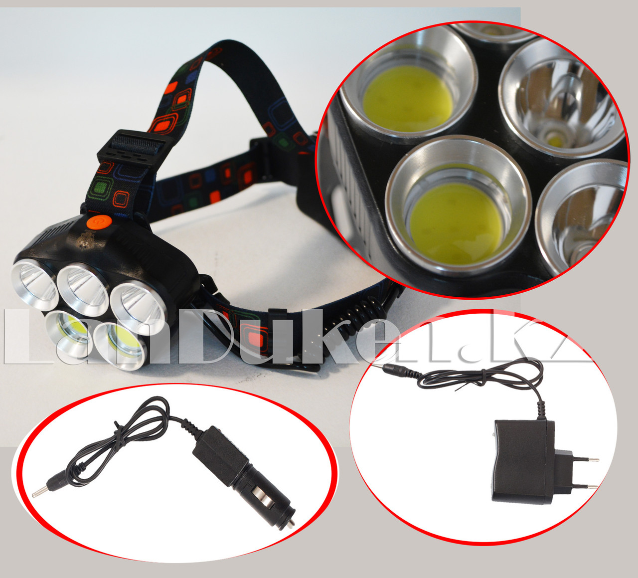 Светодиодный налобный фонарь Led Headlamp 5 режимов (зарядка от сети и прикуривателя) T6