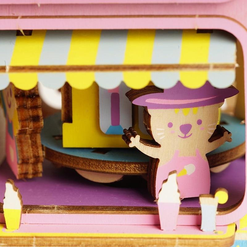 """Robotime Деревянный конструктор """"Музыкальная шкатулка: Фургон мороженого"""" - фото 3"""