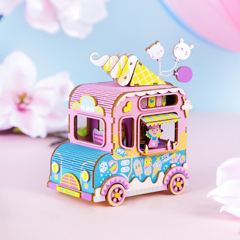 """Robotime Деревянный конструктор """"Музыкальная шкатулка: Фургон мороженого"""" - фото 1"""